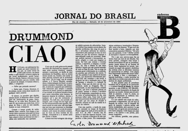 A última cronica no Jornal do Brasil: Sábado, 29 de setembro de 1984