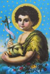 A imagem de São João Batista é geralmente apresentada como um menino com um carneiro no colo, já que segundo a Bíblia, ele anunciou a chegada cordeiro de Deus.