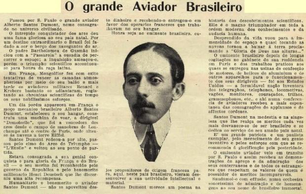 Matéria publicada na revista O Echo, em 1916, que exalta os feitos e a pessoa de Santos Dumont