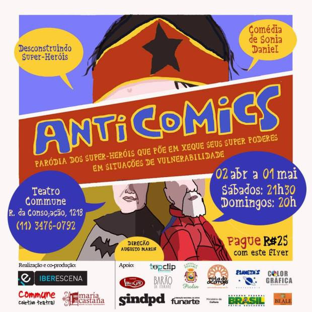 FLYER - ANTI COMICS - PARODIA DOS SUPER HEROIS - COMMUNE - ABRIL